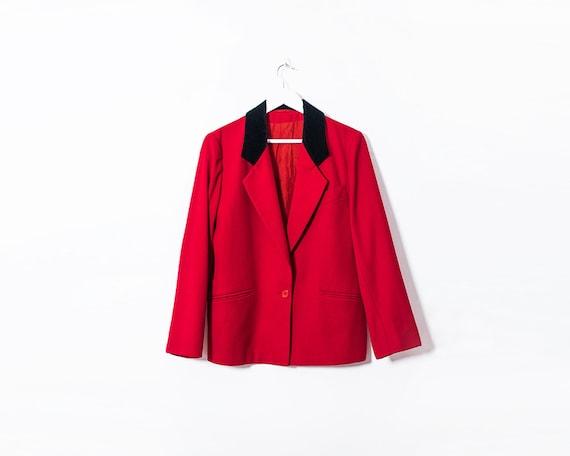 Vintage 1980s Red Blazer Button Up Jacket with Black Velvet Collar, Size 14