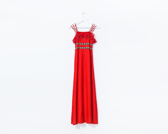 Vintage 1970s Red Embroidered Frilly Triple Strap Maxi Dress, Size 6