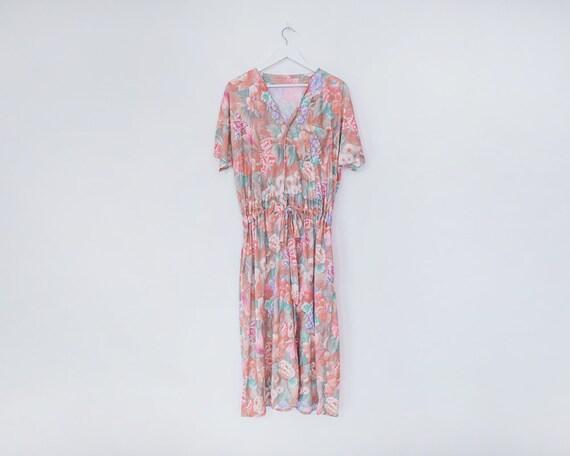 Vintage 1980s Pastel Floral V-Neck Belted Tea Dress, Size 20