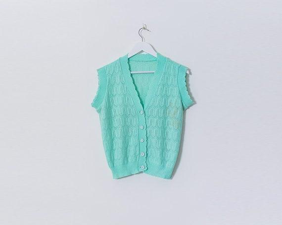 Vintage 1980s Bright Aqua Crochet Button Up Scalloped Edge Top, Size 12