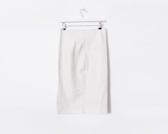Vintage 1990s White Faux Leather Pencil Skirt, Size