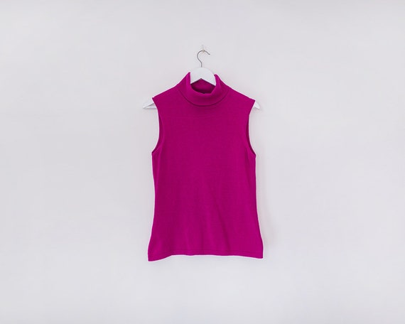 Vintage 1990s Hot Pink Sleeveless Turtleneck Jumper, Size 16