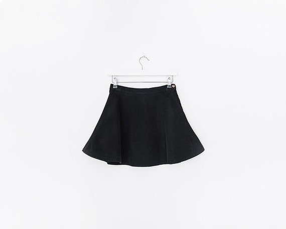 Vintage 1990s Black Corduroy A Line Circle Skater Mini Skirt, Size 6