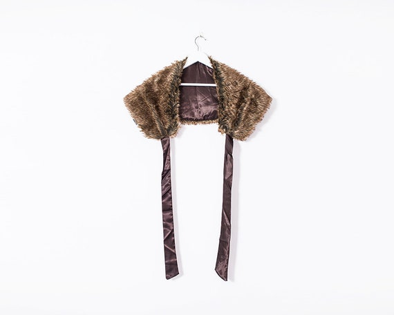 Vintage 1990s Brown Faux Fur Wrap with Ribbon