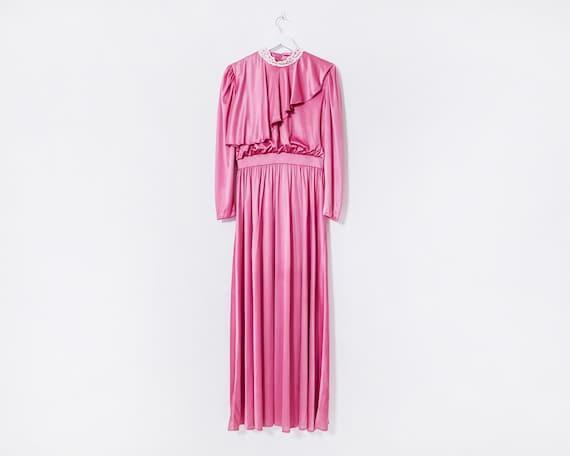 Vintage 1970s Edwardian Style Powder Pink High Neck Maxi Dress, Size 10