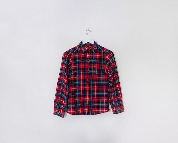 Vintage 1990s Tartan Plaid Lumberjack Cotton Long Sleeved Shirt, Size 8