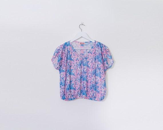 Vintage 1980s Pastel Lilac and Blue Floral V Neck Crop Top, Size L