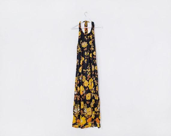 Vintage 1970s Flower Power Black and Yellow Floral Maxi Halterneck Dress, Size 10
