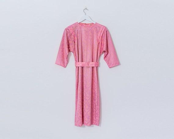 Vintage 1980s Pastel Pink Brocade Floral Motif Belted Midi Dress, Size 10