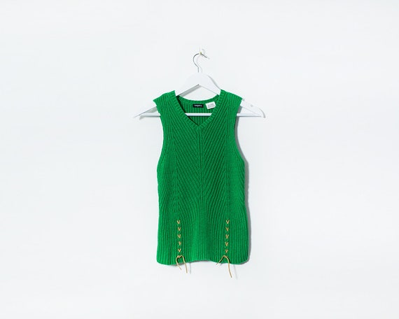 Vintage 1970s Knitted Sleeveless V Neck Sweater with Suede Laces Detail, Size 8