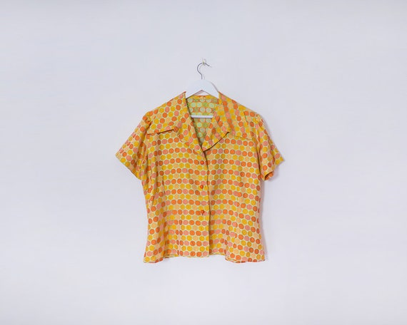 Vintage 1970s Patterned Gold, Orange & Green Buttoned Wide Collared Blouse, Size 16