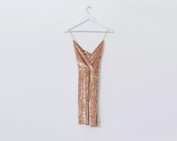 Retro 90s Gold Velvet Velour Crossover Spaghetti Strip Mini Dress, Size 8