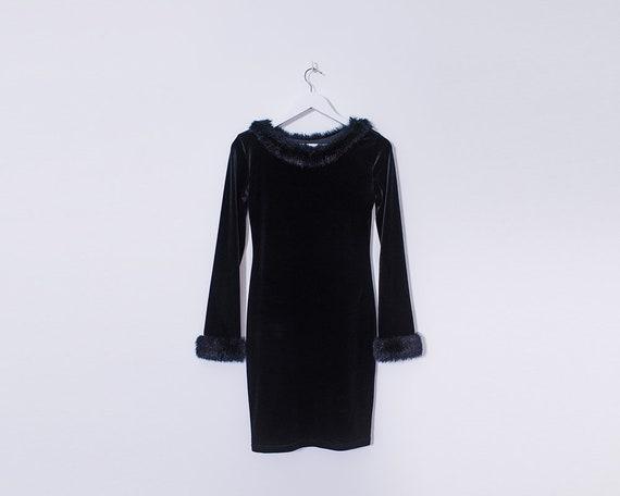 Vintage 90s Black Velvet and Fake Fur Wiggle Dress, Size 8