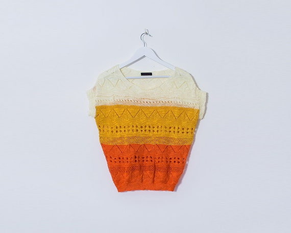 Vintage 1970s Crochet Patterned Yellow and Orange Cropped Short Sleeved T Shirt, Size 12