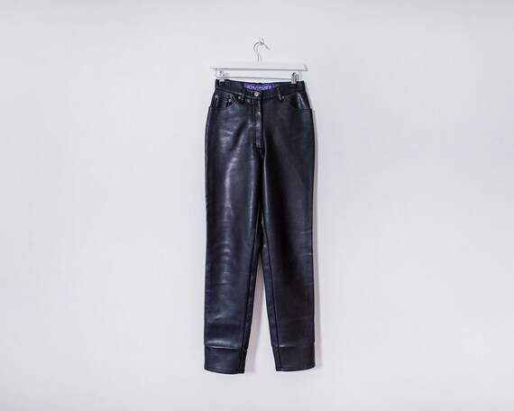 Vintage 1990s Black High Waisted Real Leather Trousers, Size 8
