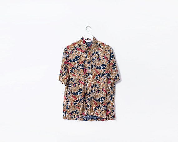 Vintage 1970s Brown Floral Button Up Short Sleeved Blouse, Size 16