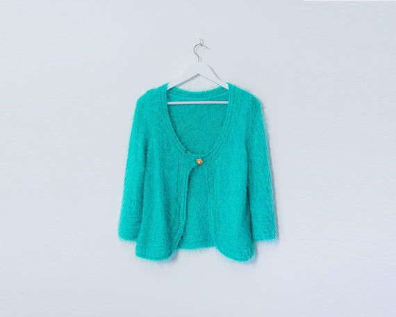 Vintage 1990's Bright Turquoise Fluffy Cardigan, Size 14
