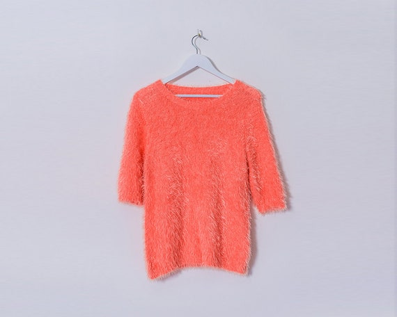 Retro 1990s Candy Pink Fluffy Knitted T Shirt, Size 12