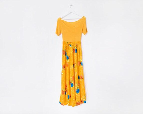 Vintage 1970s Bright Yellow Floral Skirt Boho Maxi Dress, Size 8