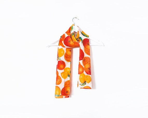Vintage 1970s Oranges and Lemons Bright Coloured Silky Scarf