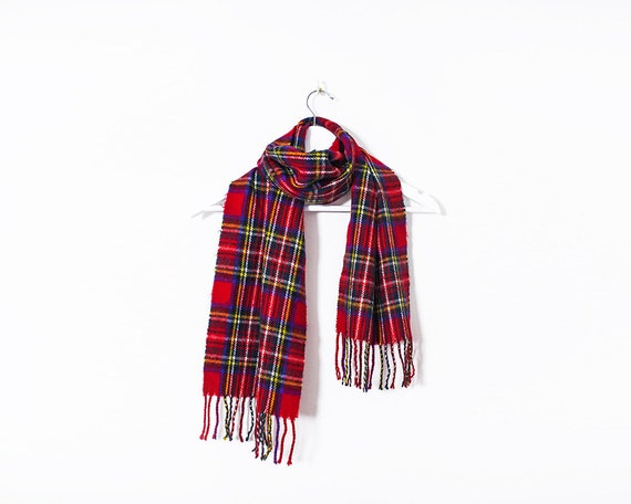 Vintage 1980s Red Tartan Plaid Woollen Scarf