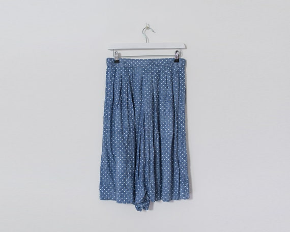 Vintage 1980s Dusty Blue and White Polka Dot Shorts Culottes, Size 14