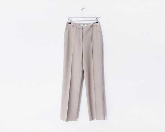 Vintage 1980's Beige Tailored Trousers, Size S, UK 8-10
