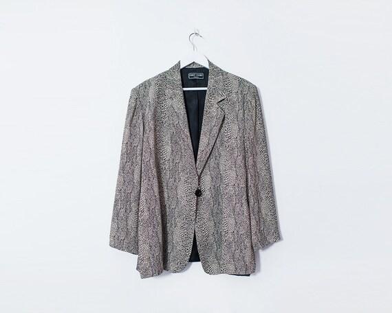 Vintage 1980s Snakeskin Print Blazer Jacket, Size 12