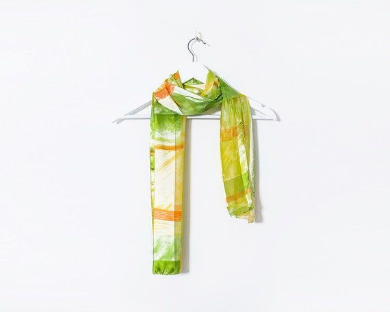 Vintage 1980s Green and Orange Abstract Pattern Silky Scarf
