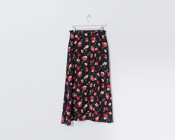 Vintage 90s Black and Red Floral Midi A-Line Skirt, Size 14
