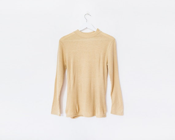 Vintage 70s Pale Mustard Ribbed Roll Neck Long Sleeved Top, Size 10