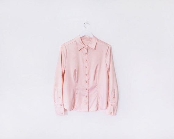 Vintage 1990s Baby Pink Long Sleeved Blouse, Size 10