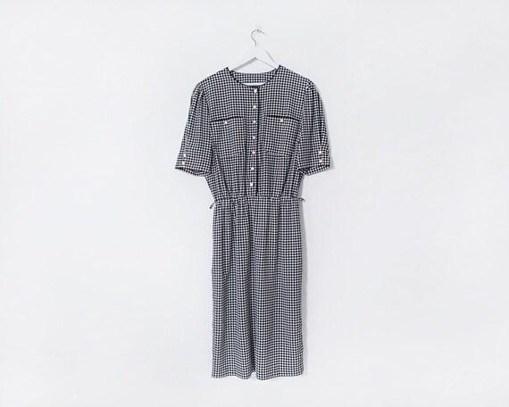 Vintage 1980s Black and White Houndstooth Check Midi Tea Dress, Size 14