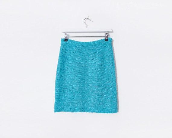 Vintage 90s Knitted Sky Blue & Glittered Mini Skirt, Size 10