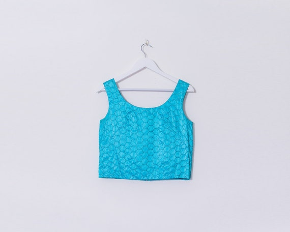 Vintage 1960s Sky Blue and Glitter Silk Hexagonal Patterned Crop Top, Size 12