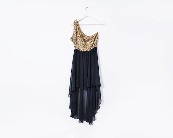 Vintage 1990s Gold Sequin One Shoulder A-Symmetric Hem Evening Gown, Size 12