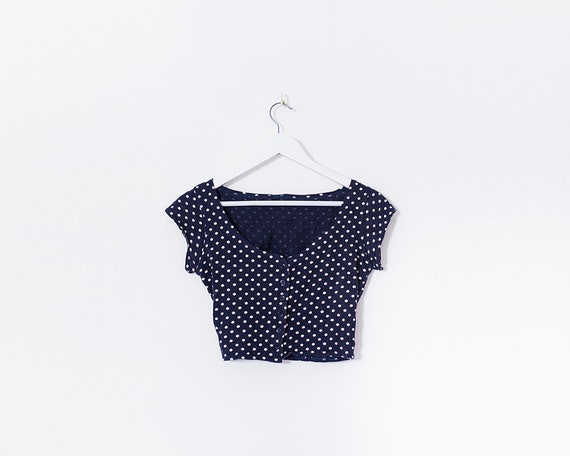 90s Blue and White Polkadot Rockabilly Pin Up Style Button Up Crop Top, Size 8