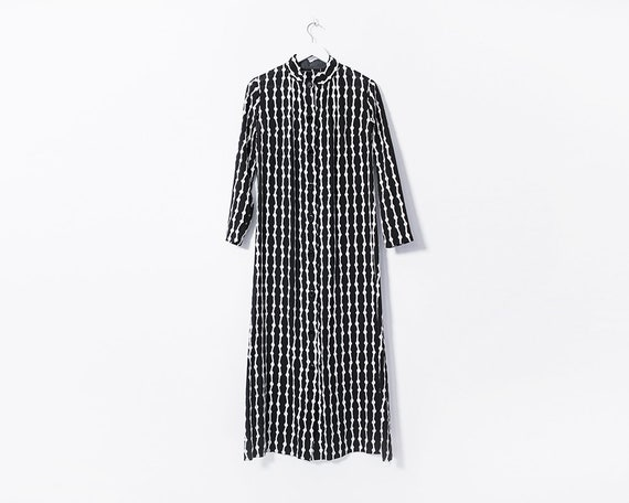 Vintage 1960s Black and White Checkered Plaid Button Up Maxi Dress, Size 14
