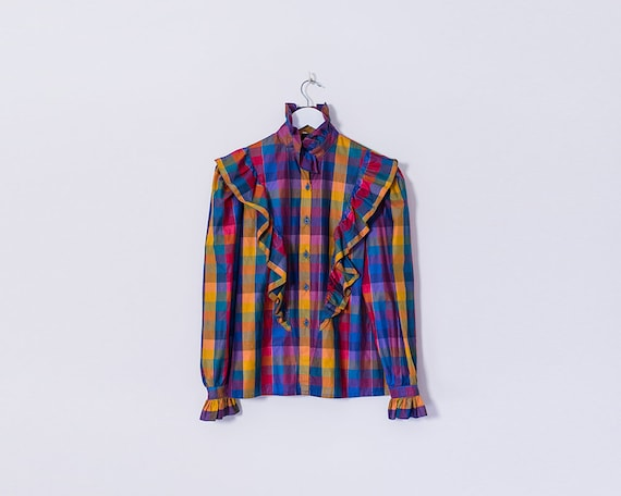 Vintage 1980s Multicoloured Plaid Tartan Button Up Long Sleeved Ruffle Blouse, Size 10