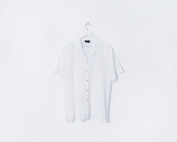 Vintage 1980s White Beaded Embroidered Button Up Short Sleeve Blouse, Size 20
