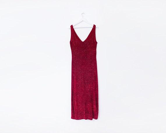 Vintage 1990s Red Velvet Glitter Sparkly Midi Dress, Size 14