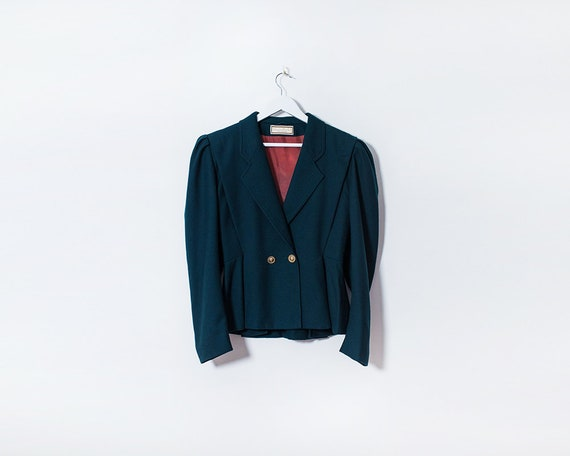 Vintage 1980s Dark Green Tailored Riding Jacket with Peplum & Gold Details, Size 12