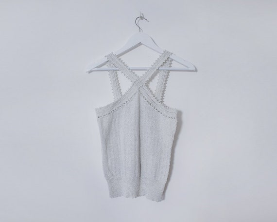 Vintage 1990s White & Silver Knitted Cross Strap Fitted Tank Top, Size 12
