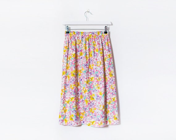 Vintage 1980s Multicoloured Floral Midi Skirt, Size 10