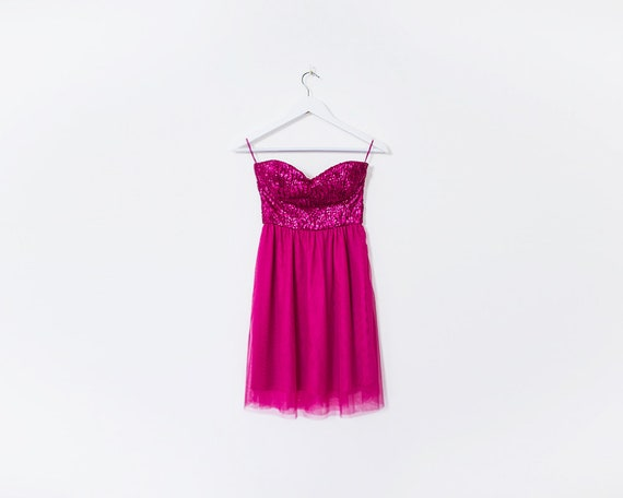 Vintage 1990s Hot Pink Sequin & Tule RaRa Strapless Mini Dress, Size 6