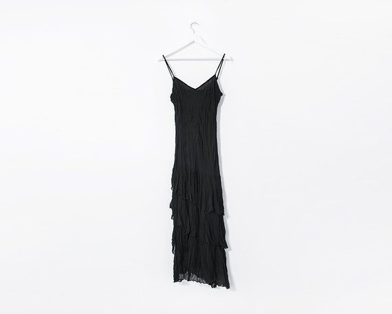 Vintage 1990's Black Ruffle Maxi Dress, Size 12