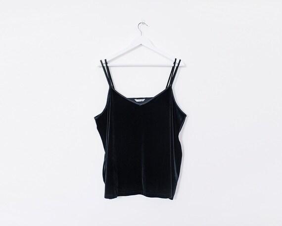 Vintage 1990s Black Velvet Double Strap Cami Top, Size 24