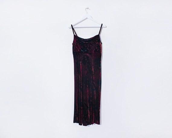 Vintage 90s Grunge Black and Red Floral Velvet Midi Dress, Size 10