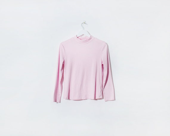 Vintage 1980s Baby Pink Long Sleeved Roll Neck Top, Size 14
