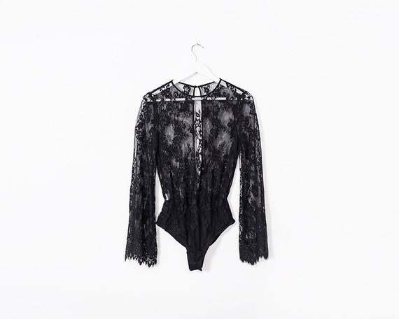 Retro 1990s Black Sheer Lace Long Flared Sleeved Body Suit, Size 8